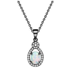 Gunmetal Opal Pave Necklace